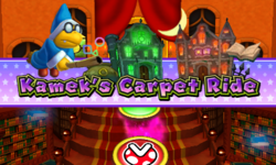 The title card for the Kamek's Carpet Ride board in Mario Party: Island Tour.