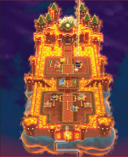 The overworld map of World Castle in Super Mario 3D World.