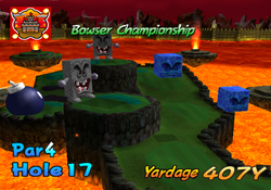 A screenshot of the intro video of hole 17 from bowser badland