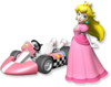 Artwork of Princess Peach and her kart from Mario Kart Wii