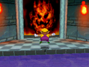 Wario entering the painting of Lethal Lava Land