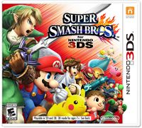 North American boxart for Super Smash Bros. for Nintendo 3DS. This version is the final commercial print as released for consumers.
