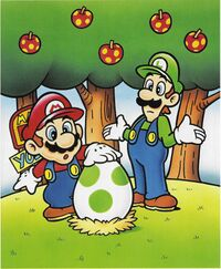 Artwork of Mario and Luigi finding a Yoshi Egg in Yoshi's Island from Super Mario World