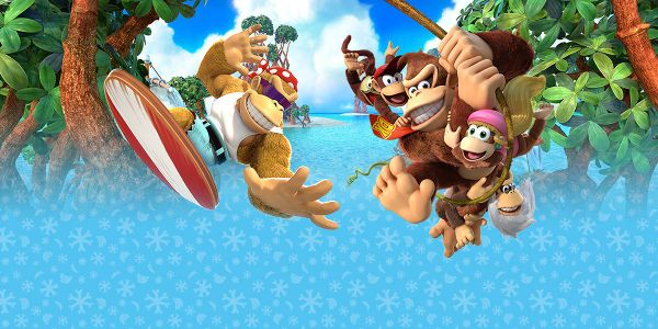 Banner for a Play Nintendo opinion poll on which pair of Kongs to play as in the Nintendo Switch version of Donkey Kong Country: Tropical Freeze. Original filename: <tt>2x1_DKCTFSwitchPoll1_promo_v01_ewkB0bF.0290fa98.jpg</tt>