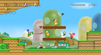 Early screenshot of Mario, Luigi, Blue Toad and Yellow Toad in World 1-3 of New Super Mario Bros. Wii. Note the Red Yoshi.