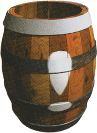 Artwork of an Invincibility Barrel from Donkey Kong Country 2: Diddy's Kong Quest, also used for Donkey Kong Country 3: Dixie Kong's Double Trouble!