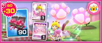 The Team Peach Cat Peach Pack from the Mario vs. Peach Tour in Mario Kart Tour