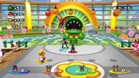 Mario, Luigi, Wario, and Waluigi playing Feed Petey in Daisy Garden