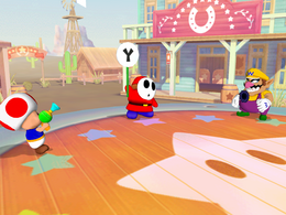 Shy Guy Showdown from Mario Party 5. It is important to note that Shy Guy is holding a fake out sign.
