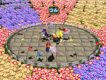 Mario, a human player against CPU players in Butterfly Blitz from Mario Party 4