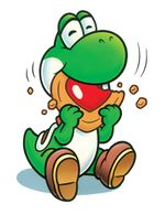 Artwork of Yoshi eating a cookie from Yoshi's Cookie, later reused for Nintendo Puzzle Collection