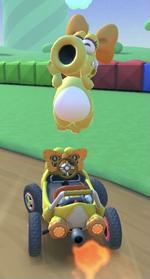 Birdo (Yellow) performing a trick.