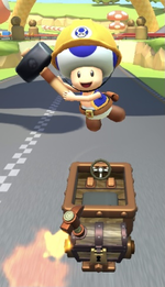 Builder Toad performing a trick.