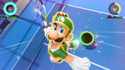 Luigi performing his Special Shot, the Pipe Cannon