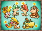 Baby Mario, Baby Luigi, Baby Peach, Baby Donkey Kong, Baby Wario, and Baby Bowser in a screenshot from Yoshi's Island DS.