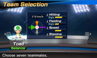 Green Toad's stats in the baseball portion of Mario Sports Superstars