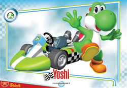 Mario Kart Wii trading card of Yoshi.