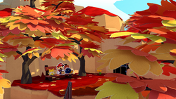 Mario, Olivia, and Bob-omb resting under some fall/autumn trees in Paper Mario: The Origami King