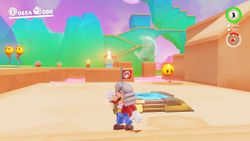 A screenshot of the Path to the Meat Plateau in Super Mario Odyssey