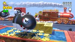Screenshot of a Cat Banzai Bill heading near Fire Peach, in Super Mario 3D World.
