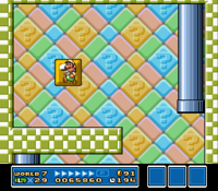 Luigi going through the block after using a white block.