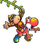 Baby DK riding Red Yoshi