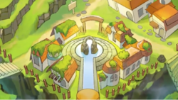 Luxeville in the prologue of WarioWare Gold during daytime.