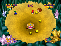 Wario Bowser in Quicksand Cache from Mario Party 2