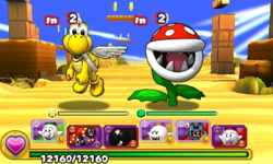Screenshot of World 3-4, from Puzzle & Dragons: Super Mario Bros. Edition.
