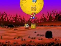 Screenshot of Mario revealing a hidden ? Block (containing a Super Shroom) in Twilight Trail, in Paper Mario: The Thousand-Year Door.