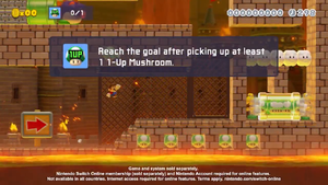 A screenshot of Mario's 1-Up Expedition! from the video promoting it on Twitter