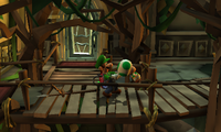Luigi holding the Poltergust 5000 with Toad stuck on the nozzle, in a glitch from Luigi's Mansion: Dark Moon.