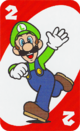 The Red Two card from the UNO Super Mario deck (featuring Luigi)