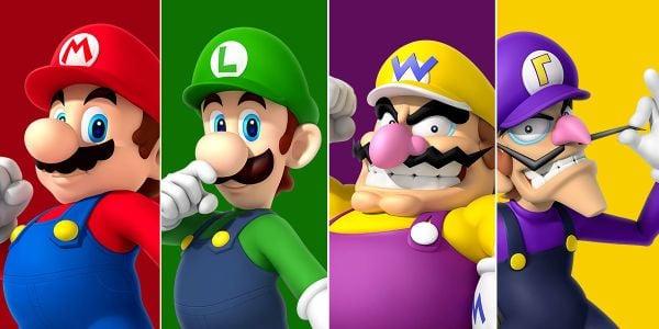 Banner for a Play Nintendo opinion poll on who has the best mustache out of Mario, Luigi, Wario and Waluigi. Original filename: <tt>2x1_KidsChoiceMustache_v02.0290fa9874e6c2e6db1c3f61b1e85eb024429302.jpg</tt>