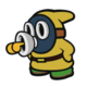 The Yellow Whistle Snifit sprite from Paper Mario: Color Splash.