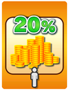 A Venture Card from Fortune Street indicating a 20% gain of Gold from another player