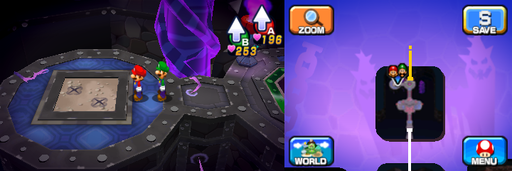 Location of the second and third beanholes in Neo Bowser Castle (Dream Team's version).