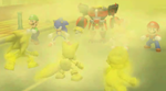Omega, Mario, Luigi, Sonic, and Tails confront Fog Imposters