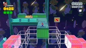 Luigi sighting in Beep Block Skyway in Super Mario 3D World.