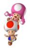 A Sticker of Toad and Toadette in Super Smash Bros. Brawl.