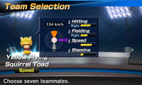 Yellow Flying Squirrel Toad's stats in the baseball portion of Mario Sports Superstars