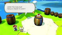 Mario rescues the Yellow Toad on Spade Island in Paper Mario: The Origami King
