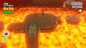 Hidden Luigi found in Lava Rock Lair in Super Mario 3D World.