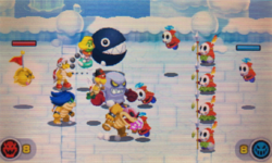 """A screenshot of the Minion Quest: The Search for Bowser level, """"Shy Guy Barrage""""."""