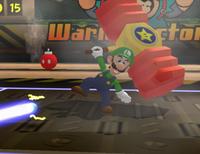 Luigi performing the Squeaky Mallet in Mario Power Tennis