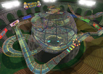 The icon for Wario Colosseum, from Mario Kart Double Dash!!.