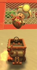 Captain Toad performing a trick.