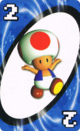 The Blue Two card from the Nintendo UNO deck (featuring Toad)