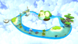 "A screenshot of Sea Slide Galaxy during ""The Silver Stars of Sea Slide"" mission from Super Mario Galaxy."