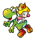 Yoshi's Island DS: Baby Peach riding on Yoshi